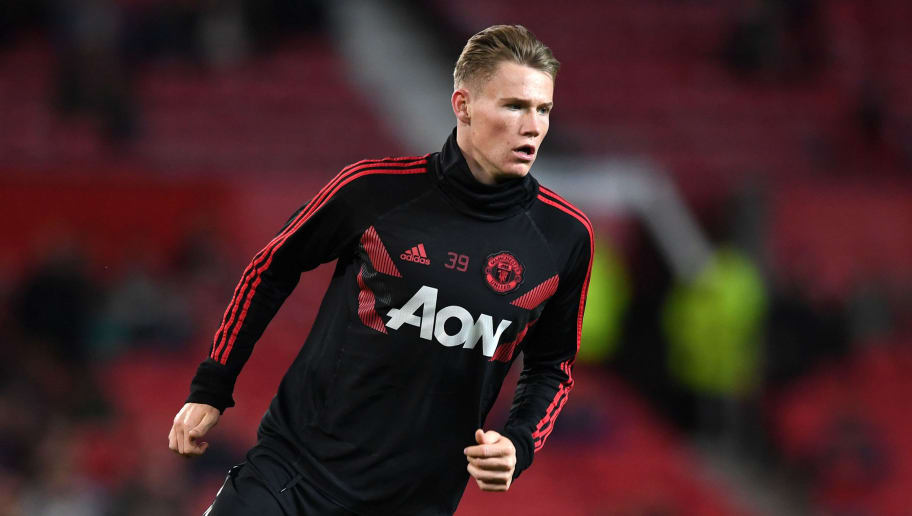 MANCHESTER, ENGLAND - SEPTEMBER 25:  Scott McTominay of Manchester United warms up prior to the Carabao Cup Third Round match between Manchester United and Derby County at Old Trafford on September 25, 2018 in Manchester, England.  (Photo by Gareth Copley/Getty Images)