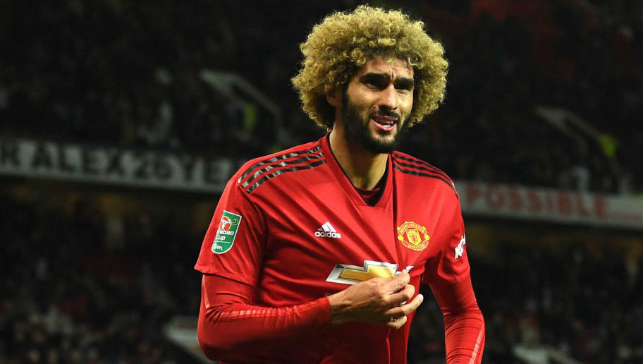 MANCHESTER, ENGLAND - SEPTEMBER 25:  Marouane Fellaini of Manchester United celebrates after scoring his team's second goal during the Carabao Cup Third Round match between Manchester United and Derby County at Old Trafford on September 25, 2018 in Manchester, England.  (Photo by Gareth Copley/Getty Images)