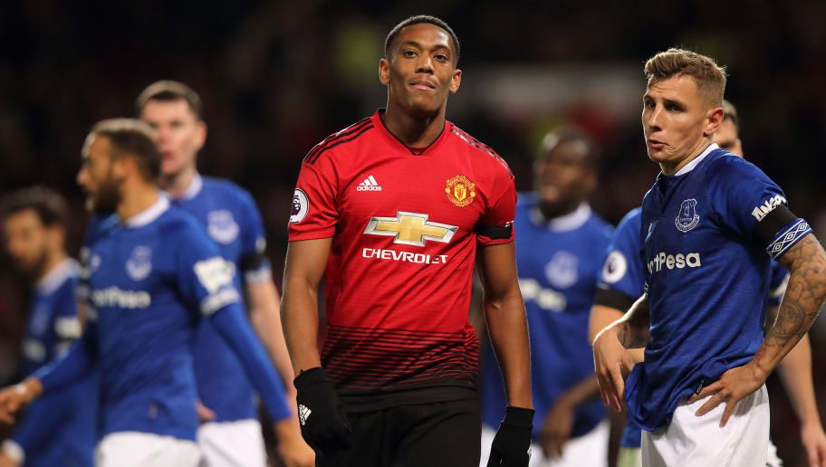 MANCHESTER, ENGLAND - OCTOBER 28: Anthony Martial of Manchester United during the Premier League match between Manchester United and Everton FC at Old Trafford on October 28, 2018 in Manchester, United Kingdom. (Photo by Matthew Ashton - AMA/Getty Images)