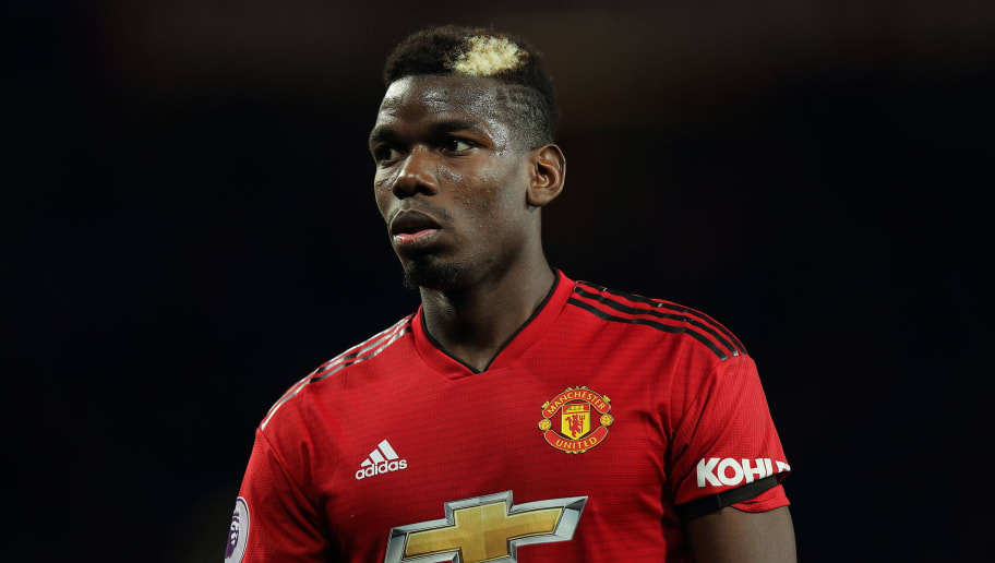 MANCHESTER, ENGLAND - OCTOBER 28: Paul Pogba of Manchester United during the Premier League match between Manchester United and Everton FC at Old Trafford on October 28, 2018 in Manchester, United Kingdom. (Photo by Matthew Ashton - AMA/Getty Images)
