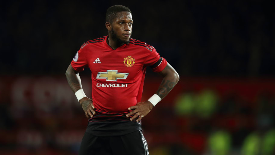 MANCHESTER, ENGLAND - OCTOBER 28: Fred of Manchester United during the Premier League match between Manchester United and Everton FC at Old Trafford on October 28, 2018 in Manchester, United Kingdom. (Photo by Matthew Ashton - AMA/Getty Images)