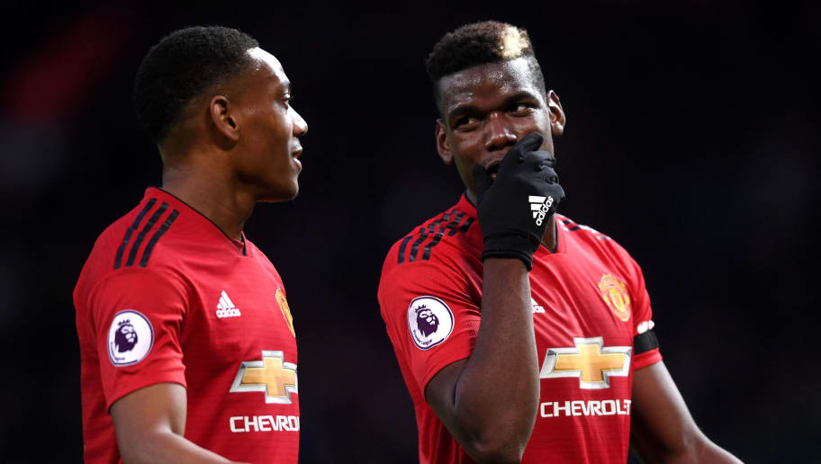 MANCHESTER, ENGLAND - OCTOBER 28:  Paul Pogba  and Anthony Martial of Manchester United talk during the Premier League match between Manchester United and Everton FC at Old Trafford on October 28, 2018 in Manchester, United Kingdom.  (Photo by Laurence Griffiths/Getty Images)