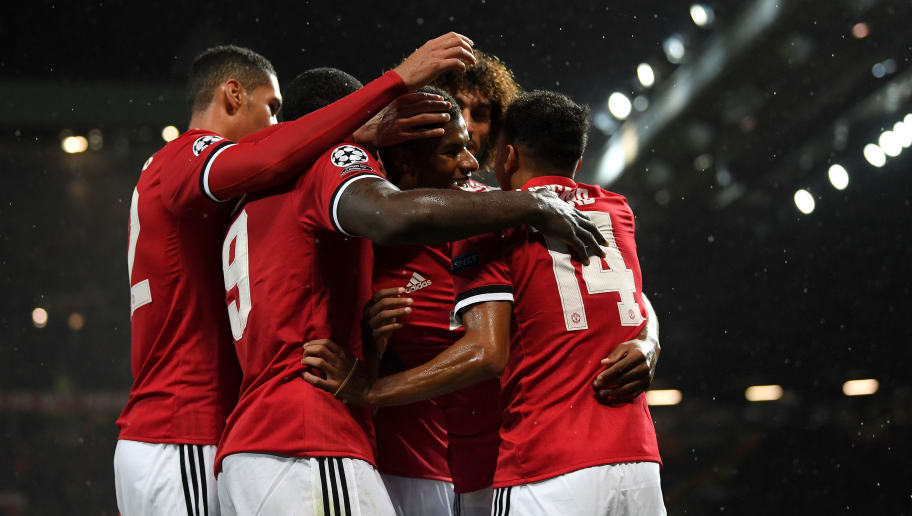 MANCHESTER, ENGLAND - SEPTEMBER 12:  Marcus Rashford of Manchester United celebrates scoring his sides third goal with his Manchester United team mates during the UEFA Champions League Group A match between Manchester United and FC Basel at Old Trafford on September 12, 2017 in Manchester, United Kingdom.  (Photo by Laurence Griffiths/Getty Images)