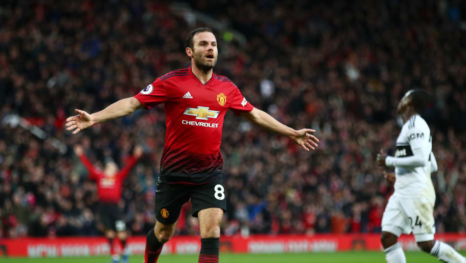 MANCHESTER, ENGLAND - DECEMBER 08:  Juan Mata of Manchester United celebrates after scoring his team's second goal during the Premier League match between Manchester United and Fulham FC at Old Trafford on December 8, 2018 in Manchester, United Kingdom.  (Photo by Clive Brunskill/Getty Images)