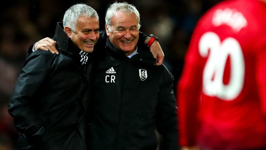 MANCHESTER, ENGLAND - DECEMBER 08:  Jose Mourinho the head coach / manager of Manchester United and Claudio Ranieri the head coach / manager of Fulham  during the Premier League match between Manchester United and Fulham FC at Old Trafford on December 8, 2018 in Manchester, United Kingdom. (Photo by Robbie Jay Barratt - AMA/Getty Images)