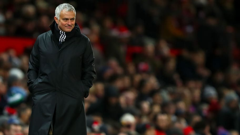 MANCHESTER, ENGLAND - DECEMBER 08: Jose Mourinho the head coach / manager of Manchester United smiles during the Premier League match between Manchester United and Fulham FC at Old Trafford on December 8, 2018 in Manchester, United Kingdom. (Photo by Robbie Jay Barratt - AMA/Getty Images)