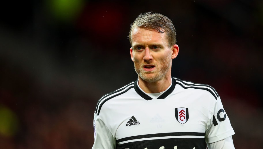 MANCHESTER, ENGLAND - DECEMBER 08: Andre Schurrle of Fulham during the Premier League match between Manchester United and Fulham FC at Old Trafford on December 8, 2018 in Manchester, United Kingdom. (Photo by Robbie Jay Barratt - AMA/Getty Images)