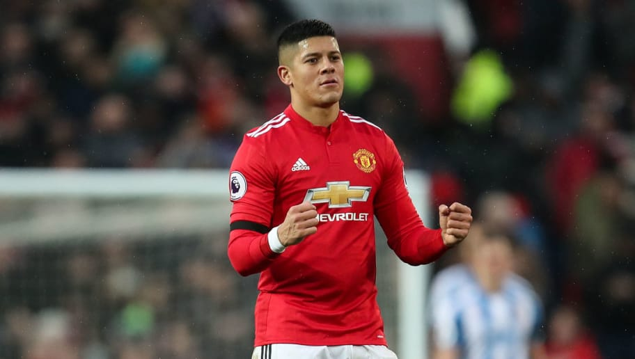 MANCHESTER, ENGLAND - FEBRUARY 03: Marcos Rojo of Manchester United celebrates during the Premier League match between Manchester United and Huddersfield Town at Old Trafford on February 3, 2018 in Manchester, England. (Photo by Robbie Jay Barratt - AMA/Getty Images)
