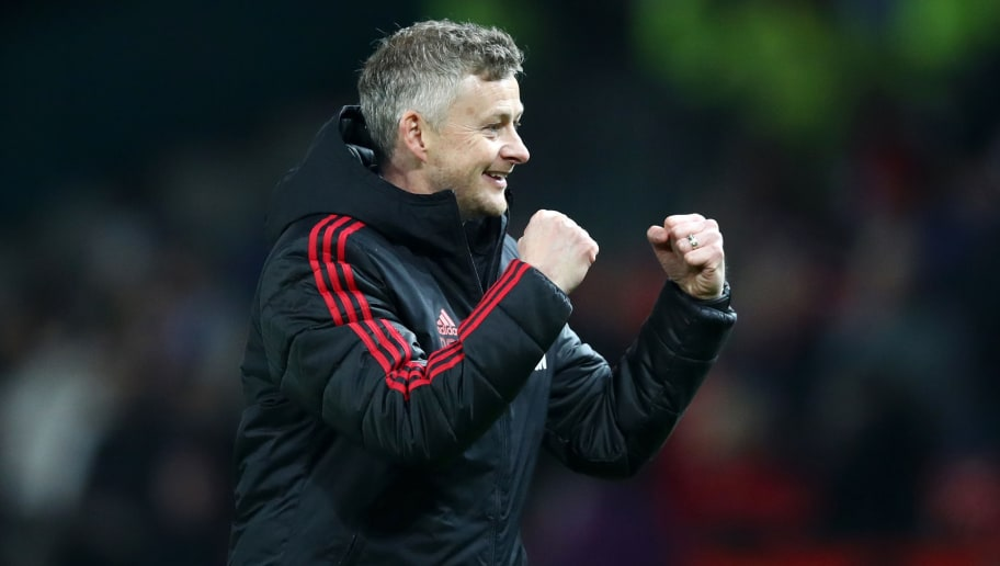MANCHESTER, ENGLAND - DECEMBER 26:  Ole Gunnar Solskjaer, Interim Manager of Manchester United celebrates following his sides victory in the Premier League match between Manchester United and Huddersfield Town at Old Trafford on December 26, 2018 in Manchester, United Kingdom.  (Photo by Clive Brunskill/Getty Images)