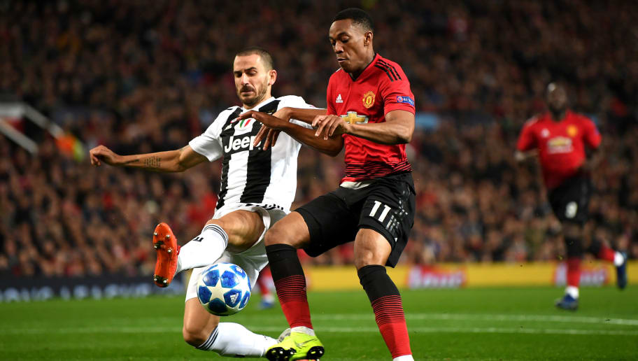 MANCHESTER, ENGLAND - OCTOBER 23:  Anthony Martial of Manchester United is tackled by Leonardo Bonucci of Juventus during the Group H match of the UEFA Champions League between Manchester United and Juventus at Old Trafford on October 23, 2018 in Manchester, United Kingdom.  (Photo by Michael Regan/Getty Images)