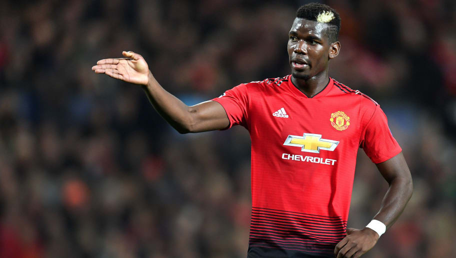 MANCHESTER, ENGLAND - OCTOBER 23:  Paul Pogba of Manchester United gestures during the Group H match of the UEFA Champions League between Manchester United and Juventus at Old Trafford on October 23, 2018 in Manchester, United Kingdom.  (Photo by Michael Regan/Getty Images)