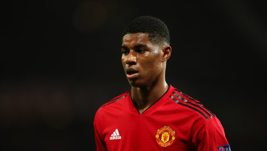 MANCHESTER, ENGLAND - OCTOBER 23:  Marcus Rashford of Manchester United looks on during the Group H match of the UEFA Champions League between Manchester United and Juventus at Old Trafford on October 23, 2018 in Manchester, United Kingdom. (Photo by Robbie Jay Barratt - AMA/Getty Images)