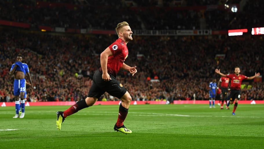 MANCHESTER, ENGLAND - AUGUST 10:  Luke Shaw of Manchester United celebrates after scoring his team's second goal during the Premier League match between Manchester United and Leicester City at Old Trafford on August 10, 2018 in Manchester, United Kingdom.  (Photo by Michael Regan/Getty Images)