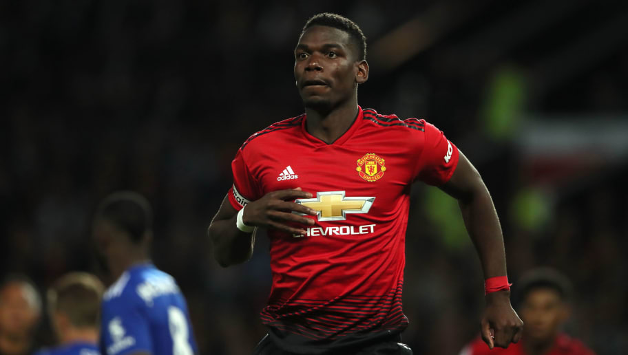 MANCHESTER, ENGLAND - AUGUST 10: Paul Pogba of Manchester United during the Premier League match between Manchester United and Leicester City at Old Trafford on August 10, 2018 in Manchester, United Kingdom. (Photo by Matthew Ashton - AMA/Getty Images)