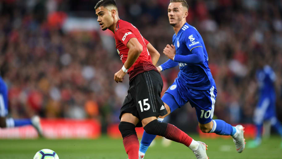 MANCHESTER, ENGLAND - AUGUST 10:  Andreas Pereira of Manchester United and James Maddison of Leicester City in action during the Premier League match between Manchester United and Leicester City at Old Trafford on August 10, 2018 in Manchester, United Kingdom.  (Photo by Michael Regan/Getty Images)