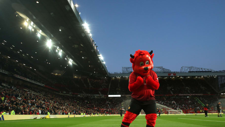 MANCHESTER, ENGLAND - AUGUST 10: Manchester United mascot Fred the Red during the Premier League match between Manchester United and Leicester City at Old Trafford on August 10, 2018 in Manchester, United Kingdom. (Photo by Matthew Ashton - AMA/Getty Images)