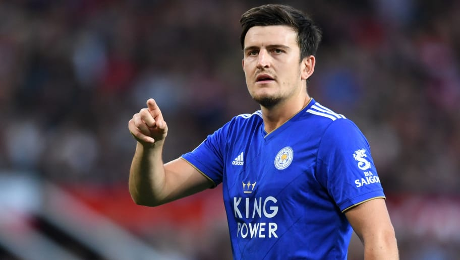 MANCHESTER, ENGLAND - AUGUST 10:  Harry Maguire of Leicester City reacts during the Premier League match between Manchester United and Leicester City at Old Trafford on August 10, 2018 in Manchester, United Kingdom.  (Photo by Michael Regan/Getty Images)