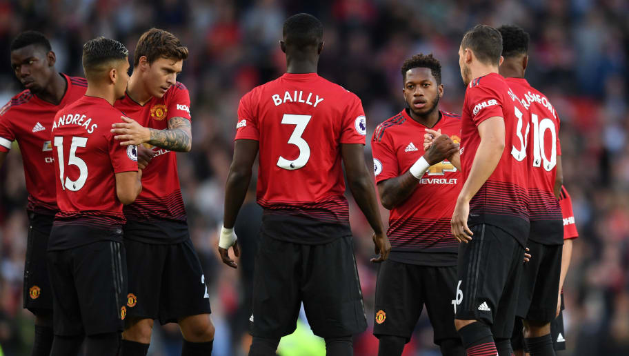 MANCHESTER, ENGLAND - AUGUST 10:  Fred of Manchester United shakes hands with his team mates prior to the Premier League match between Manchester United and Leicester City at Old Trafford on August 10, 2018 in Manchester, United Kingdom.  (Photo by Michael Regan/Getty Images)