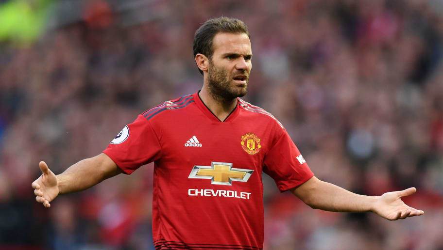 MANCHESTER, ENGLAND - AUGUST 10:  Juan Mata of Manchester United reacts during the Premier League match between Manchester United and Leicester City at Old Trafford on August 10, 2018 in Manchester, United Kingdom.  (Photo by Michael Regan/Getty Images)