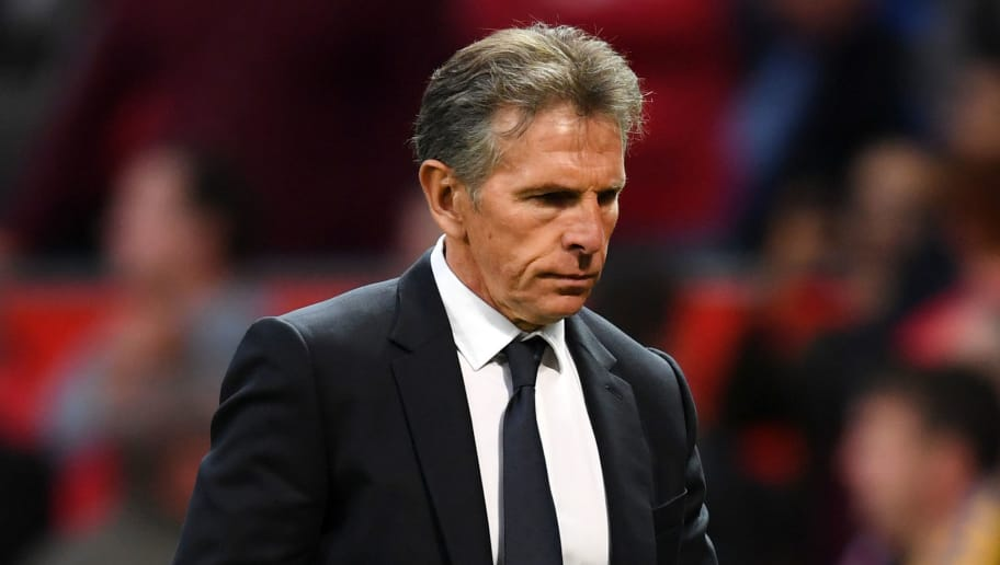 MANCHESTER, ENGLAND - AUGUST 10:  Claude Puel, Manager of Leicester City looks on during the Premier League match between Manchester United and Leicester City at Old Trafford on August 10, 2018 in Manchester, United Kingdom.  (Photo by Michael Regan/Getty Images)