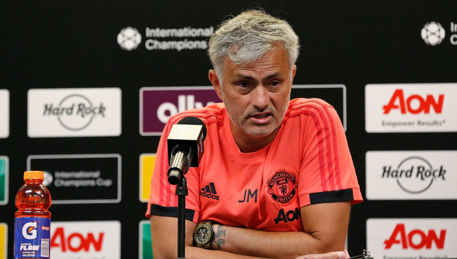 ANN ARBOR, MI - JULY 28:  Manager José Mourinho of Manchester United speaks with the media after a 4-1 loss to Liverpool during the International Champions Cup 2018 match at Michigan Stadium on July 28, 2018 in Ann Arbor, Michigan. (Photo by Rey Del Rio/International Champions Cup/Getty Images)