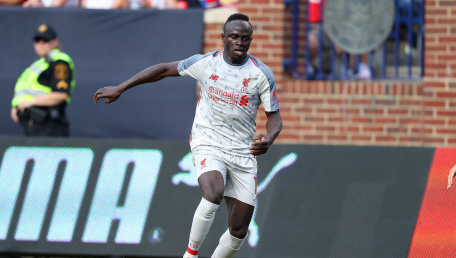 ANN ARBOR, MI - JULY 28:  Sadio Mane #10 of Liverpool moves the ball in the first half against Manchester United during the International Champions Cup 2018 match at Michigan Stadium on July 28, 2018 in Ann Arbor, Michigan. (Photo by Gregory Shamus/International Champions Cup/Getty Images)