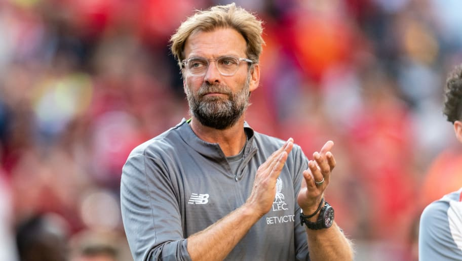 ANN ARBOR, MI - JULY 28: Head coach Jurgen Klopp of Liverpool celebrates after Liverpool defeated Manchester United of the International Champions Cup 2018 at Michigan Stadium on July 28, 2018 in Ann Arbor, Michigan. Liverpool defeated Manchester United 4-1. (Photo by Jason Miller/Getty Images)