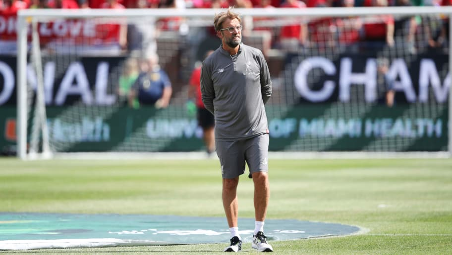 ANN ARBOR, MI - JULY 28: Jurgen Klopp the head coach / manager of Liverpool prior to the International Champions Cup 2018 match between Manchester Untied and Liverpool at Michigan Stadium on July 28, 2018 in Ann Arbor, Michigan. (Photo by Matthew Ashton - AMA/Getty Images)