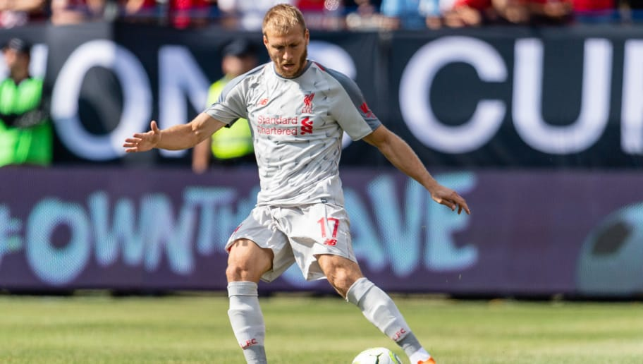 ANN ARBOR, MI - JULY 28: Ragnar Klavan #17 of Liverpool passes against the Manchester United during first half of the International Champions Cup 2018 at Michigan Stadium on July 28, 2018 in Ann Arbor, Michigan. (Photo by Jason Miller/Getty Images)