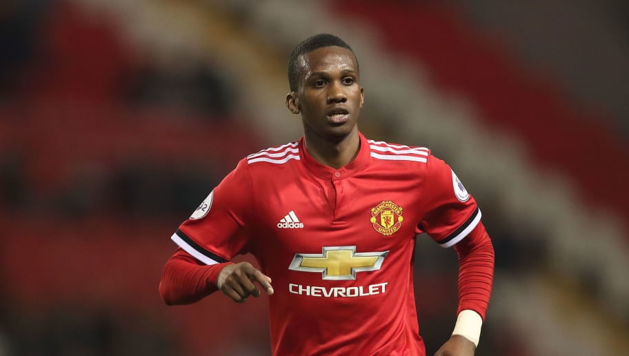 LEIGH, GREATER MANCHESTER - OCTOBER 23: Joshua Bohui of Manchester United during the Premier League 2 fixture between Manchester United and Liverpool at Leigh Sports Village on October 23, 2017 in Leigh, Greater Manchester. (Photo by Robbie Jay Barratt - AMA/Getty Images)