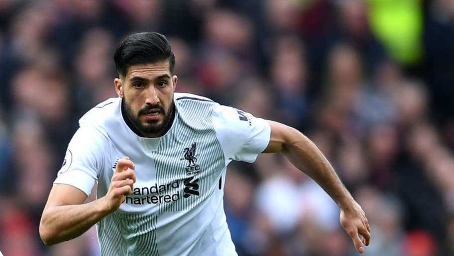 MANCHESTER, ENGLAND - MARCH 10:  Emre Can of Liverpool runs with the ball during the Premier League match between Manchester United and Liverpool at Old Trafford on March 10, 2018 in Manchester, England.  (Photo by Laurence Griffiths/Getty Images)