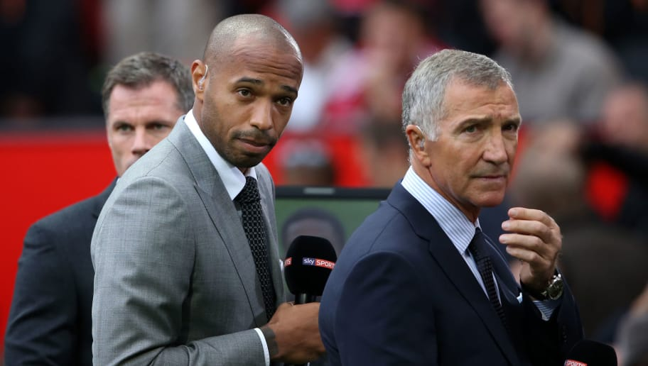 MANCHESTER, ENGLAND - SEPTEMBER 12:  Thierry Henry and Graeme Souness working for Sky Sports Television  during the Barclays Premier League match between Manchester United and Liverpool on September 12, 2015 in Manchester, United Kingdom.  (Photo by Matthew Ashton - AMA/Getty Images)