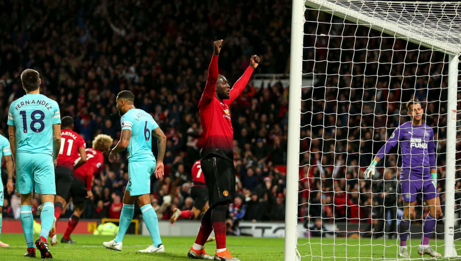 MANCHESTER, ENGLAND - OCTOBER 06: Romelu Lukaku of Manchester United celebrates during the Premier League match between Manchester United and Newcastle United at Old Trafford on October 6, 2018 in Manchester, United Kingdom. (Photo by Robbie Jay Barratt - AMA/Getty Images)