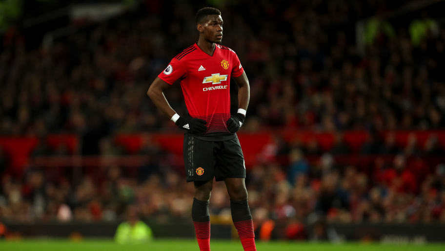 MANCHESTER, ENGLAND - OCTOBER 06: Paul Pogba of Manchester United looks on during the Premier League match between Manchester United and Newcastle United at Old Trafford on October 6, 2018 in Manchester, United Kingdom. (Photo by Robbie Jay Barratt - AMA/Getty Images)