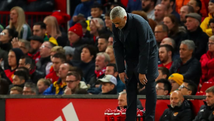 MANCHESTER, ENGLAND - OCTOBER 06:  Jose Mourinho head coach / manager of Manchester United reacts during the Premier League match between Manchester United and Newcastle United at Old Trafford on October 6, 2018 in Manchester, United Kingdom. (Photo by Robbie Jay Barratt - AMA/Getty Images)