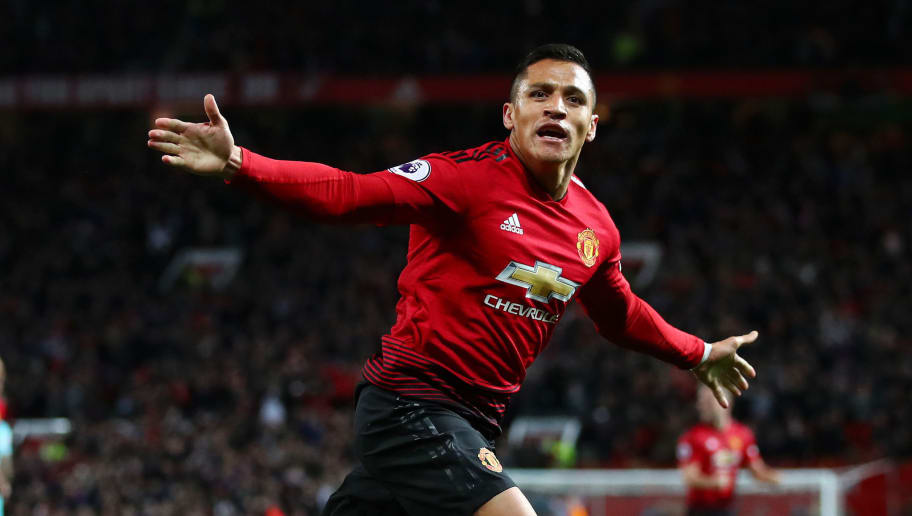 MANCHESTER, ENGLAND - OCTOBER 06:  Alexis Sanchez of Manchester United celebrates after scoring his team's third goal during the Premier League match between Manchester United and Newcastle United at Old Trafford on October 6, 2018 in Manchester, United Kingdom.  (Photo by Clive Brunskill/Getty Images)