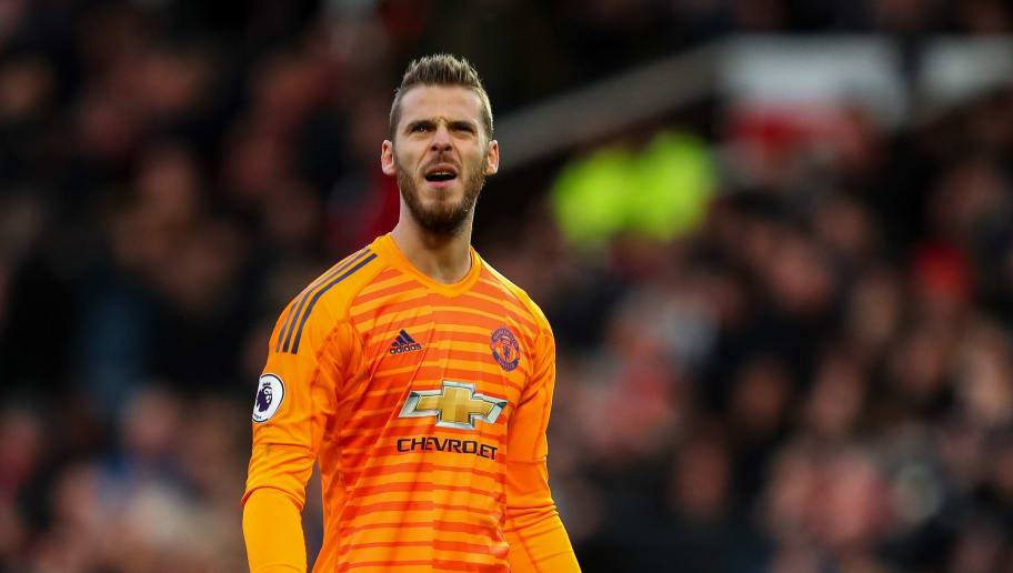 MANCHESTER, ENGLAND - OCTOBER 06: David de Gea of Manchester United reacts  during the Premier League match between Manchester United and Newcastle United at Old Trafford on October 6, 2018 in Manchester, United Kingdom. (Photo by Robbie Jay Barratt - AMA/Getty Images)