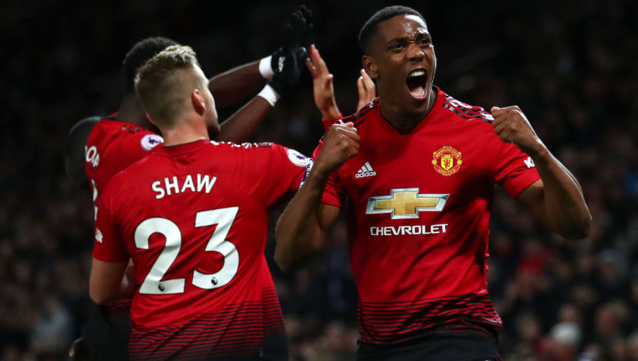 MANCHESTER, ENGLAND - OCTOBER 06:  Anthony Martial of Manchester United celebrates after his team's third goal during the Premier League match between Manchester United and Newcastle United at Old Trafford on October 6, 2018 in Manchester, United Kingdom.  (Photo by Clive Brunskill/Getty Images)
