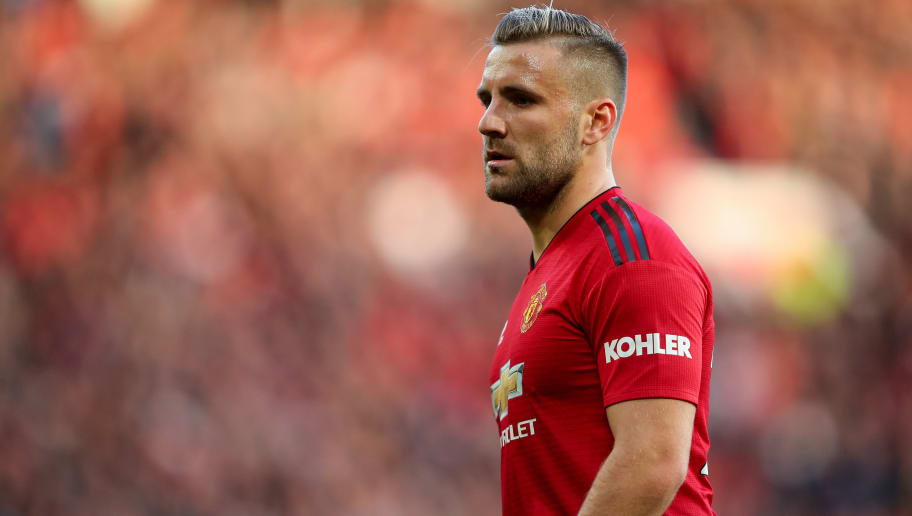 MANCHESTER, ENGLAND - OCTOBER 06: Luke Shaw of Manchester United during the Premier League match between Manchester United and Newcastle United at Old Trafford on October 6, 2018 in Manchester, United Kingdom. (Photo by Robbie Jay Barratt - AMA/Getty Images)