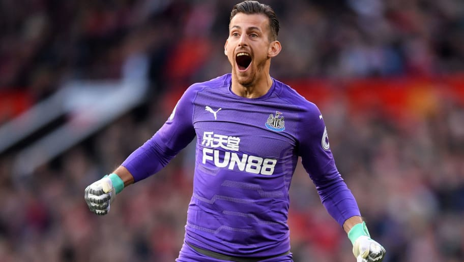 MANCHESTER, ENGLAND - OCTOBER 06:  Martin Dubravka of Newcastle United celebrates after Kenedy of Newcastle United scores their team's first goal during the Premier League match between Manchester United and Newcastle United at Old Trafford on October 6, 2018 in Manchester, United Kingdom.  (Photo by Laurence Griffiths/Getty Images)