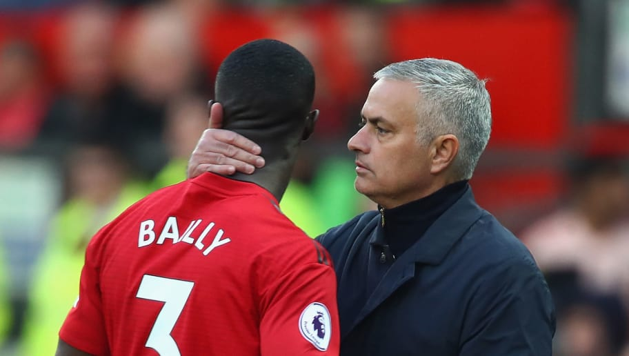 MANCHESTER, ENGLAND - OCTOBER 06:  Jose Mourinho, Manager of Manchester United with Eric Bailly after taking him off in the first half during the Premier League match between Manchester United and Newcastle United at Old Trafford on October 6, 2018 in Manchester, United Kingdom.  (Photo by Clive Brunskill/Getty Images)