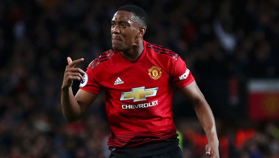 MANCHESTER, ENGLAND - OCTOBER 06:  Anthony Martial of Manchester United celebrates after scoring his team's second goal during the Premier League match between Manchester United and Newcastle United at Old Trafford on October 6, 2018 in Manchester, United Kingdom.  (Photo by Clive Brunskill/Getty Images)