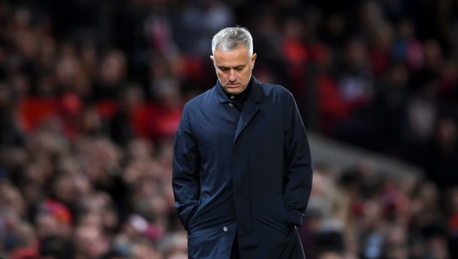MANCHESTER, ENGLAND - OCTOBER 06:  Jose Mourinho, Manager of Manchester United looks dejected during the Premier League match between Manchester United and Newcastle United at Old Trafford on October 6, 2018 in Manchester, United Kingdom.  (Photo by Laurence Griffiths/Getty Images)