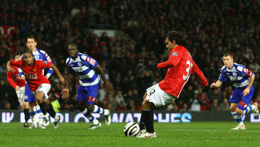 MANCHESTER, UNITED KINGDOM - NOVEMBER 11:  Carlos Tevez of Manchester United scores the opening goal from the penalty spot during the Carling Cup Fourth Round match between Manchester United and Queens Park Rangers at Old Trafford on November 11, 2008 in Manchester, England.  (Photo by Alex Livesey/Getty Images)