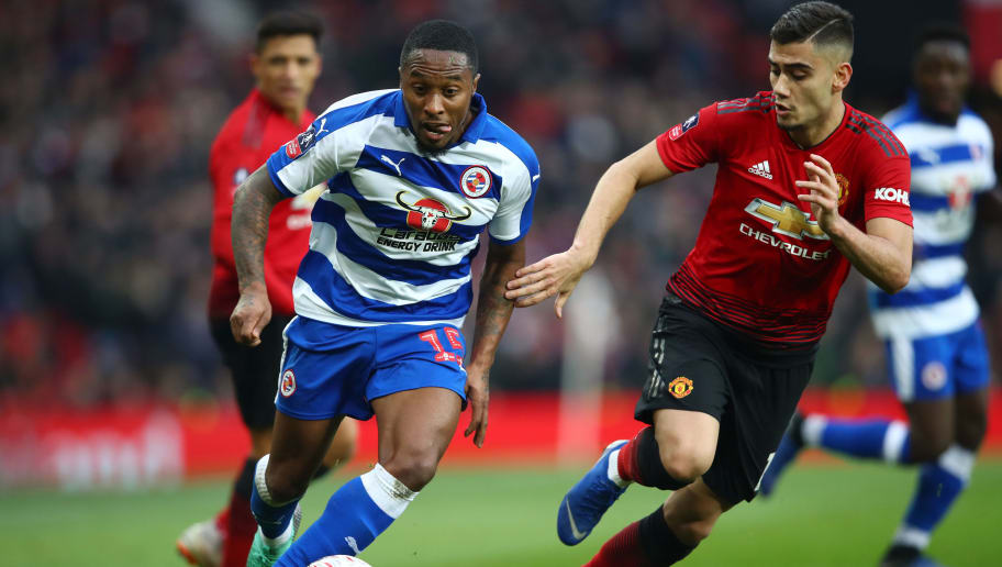 MANCHESTER, ENGLAND - JANUARY 05:  Callum Harriott of Reading battles for possession with Andreas Pereira of Manchester United during the FA Cup Third Round match between Manchester United and Reading at Old Trafford on January 5, 2019 in Manchester, United Kingdom.  (Photo by Clive Brunskill/Getty Images)