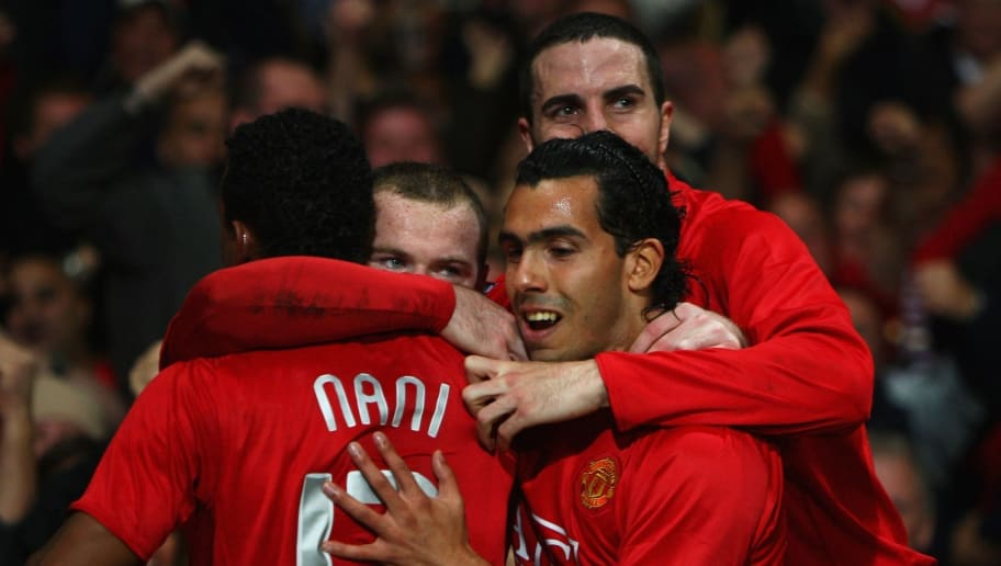 MANCHESTER, UNITED KINGDOM - OCTOBER 02:  Wayne Rooney of Manchester United (2L) celebrates with John O'Shea (R), Luis Nani (L) and Carlos tevez (R) as he scores their first goal during the UEFA Champions League Group F match between Manchester United and AS Roma at Old Trafford on October 2, 2007 in Manchester, England.  (Photo by Clive Brunskill/Getty Images)