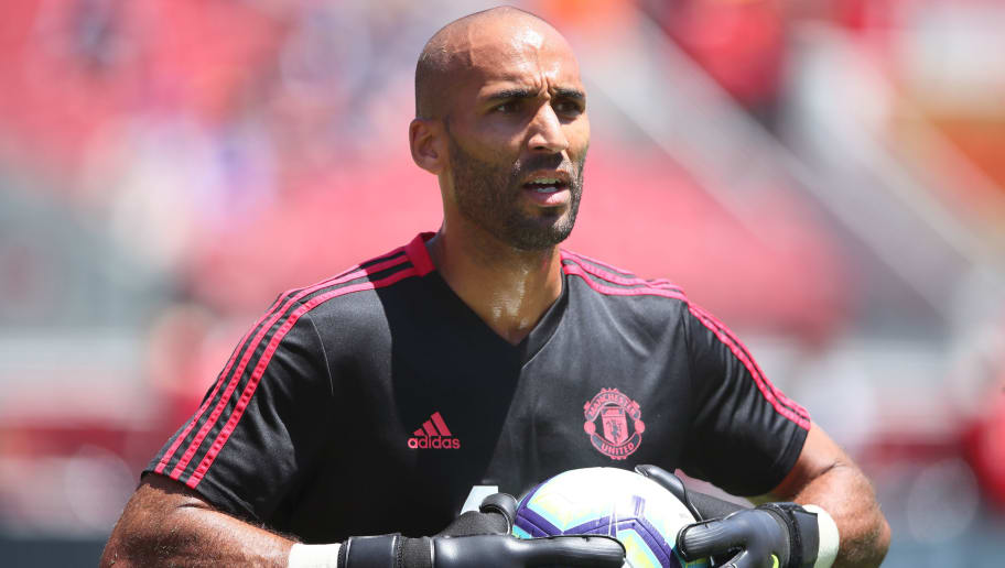 SANTA CLARA, CA - JULY 22:  Goalkeeper Lee Grant of Manchester United during the Pre-Season match between Manchester United v San Jose Earthquakes at Levi's Stadium on July 22, 2018 in Santa Clara, California. (Photo by Matthew Ashton - AMA/Getty Images)