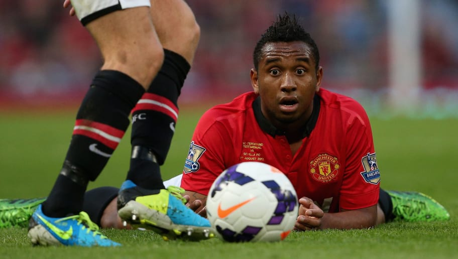 MANCHESTER, ENGLAND - AUGUST 09: Anderson of Manchester United keeps a close eye on the ball during the Rio Ferdinand Testimonial Match between Manchester United and Sevilla at Old Trafford on August 9, 2013 in Manchester, England. (Photo by Clive Brunskill/Getty Images)