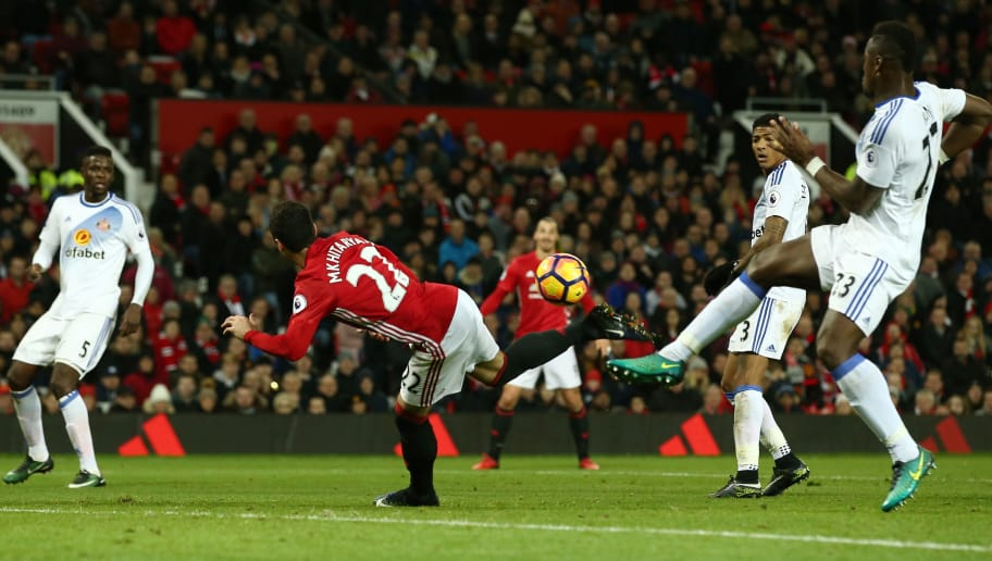 MANCHESTER, ENGLAND - DECEMBER 26:  Henrikh Mkhitaryan of Manchester United scores his team's third goal during the Premier League match between Manchester United and Sunderland at Old Trafford on December 26, 2016 in Manchester, England.  (Photo by Jan Kruger/Getty Images)