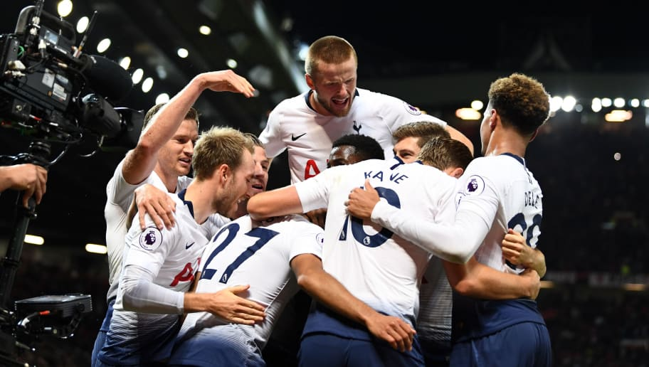 MANCHESTER, ENGLAND - AUGUST 27:  Lucas Moura of Tottenham Hotspur (hidden) celebrates with team mates after scoring his second goal and his team's third goal during the Premier League match between Manchester United and Tottenham Hotspur at Old Trafford on August 27, 2018 in Manchester, United Kingdom.  (Photo by Clive Mason/Getty Images)